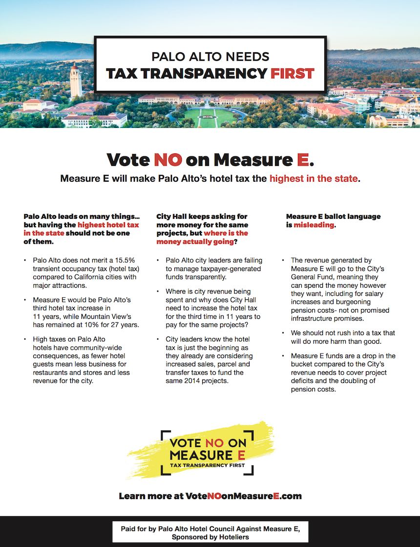 Vote No on Measure E poster